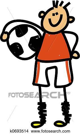 手绘图 - 足球, 孩子图片