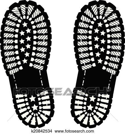 Clipart of Shoe print k20842534 - Search Clip Art, Illustration ...
