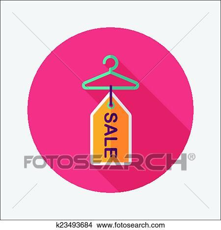 Kleiderständer clipart  Clipart - shoppen, kleiderständer, flache, symbol, mit, langer ...