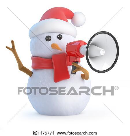 3d render of a snowman wearing a santa hat holding a megaphone - Santa Snowman