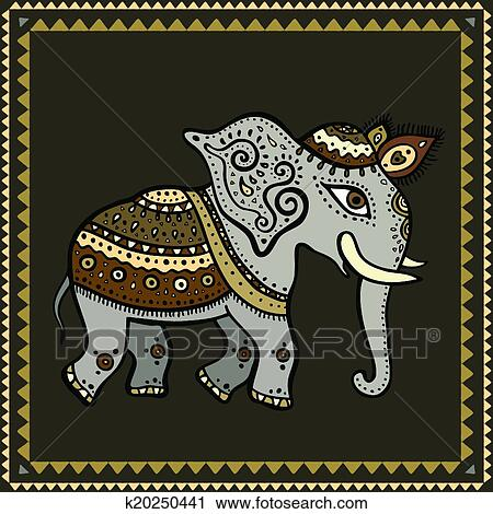 clipart ethnique elephant indien style k20250441 recherchez des clip arts des. Black Bedroom Furniture Sets. Home Design Ideas