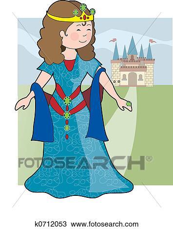 手绘图 公主, 城堡