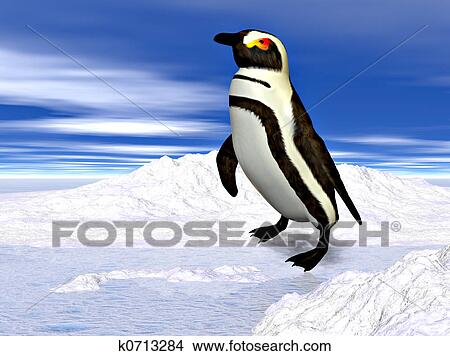 an analysis of an artwork depicting a penguin standing on a small clump of ice