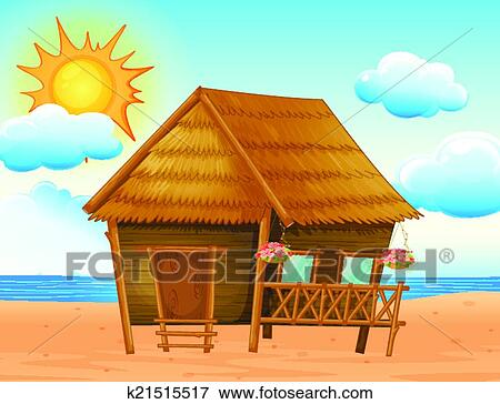 Clip art of house on the beach k21515517 search clipart for Beach house drawing