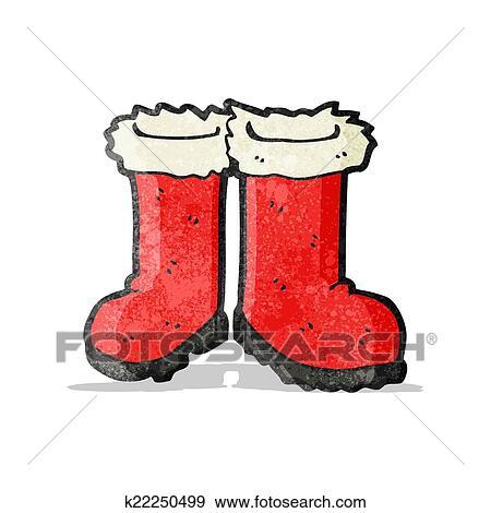 剪贴画 卡通 漫画 , 圣诞老人, 靴子 k22250499