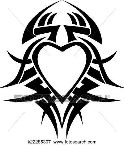 Clip Art Of Heart Shape Tattoo Design Vintage Engraving K22285307
