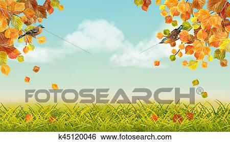 剪贴画 - 矢量, 秋天风景图片