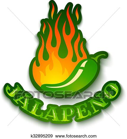 clip art of jalapeno pepper in fire k32895209 search clipart rh fotosearch com jalapeno slices clipart jalapeno clipart black and white