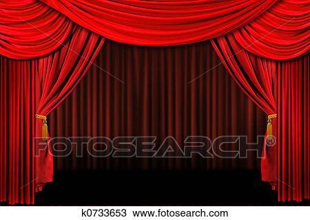 Dibujo rojo sobre el escenario cortinas de teatro - Cortinas para escenarios ...