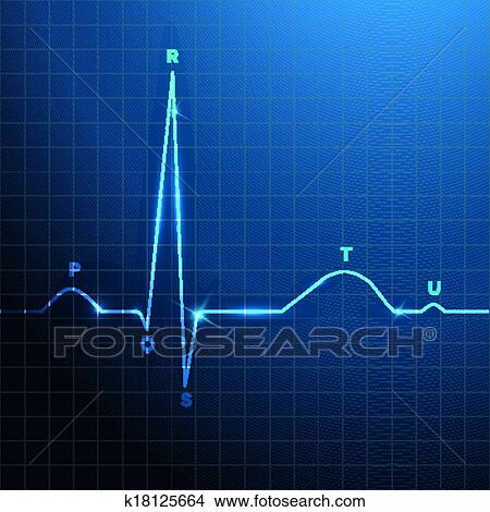 Clipart of Normal heart rhythm blue background design ...