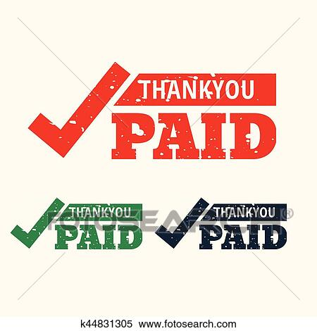 clipart of thankyou and paid stamp vector k44831305 search clip rh fotosearch com paid clipart images paid clipart sites