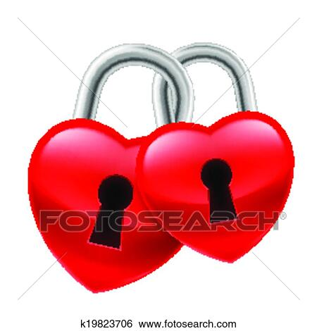 Clip Art of Heart locks k19823706 - Search Clipart ...
