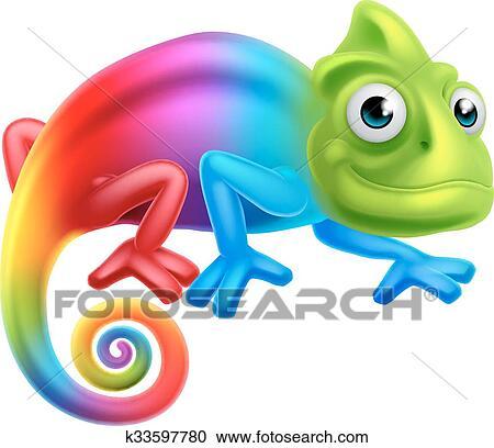 clipart of cartoon rainbow chameleon k33597780 - search clip art