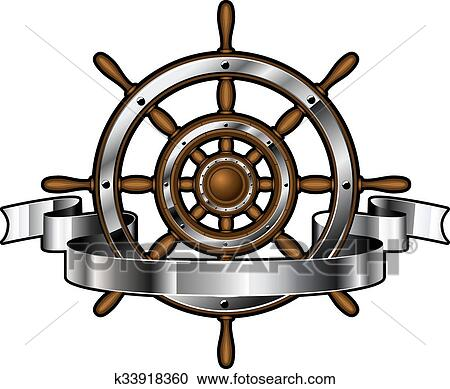Clipart of Ship steering wheel with banner k33918360 ...