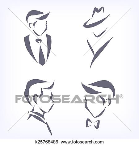 clip art of collection of symbolic men faces. k25768486 - search