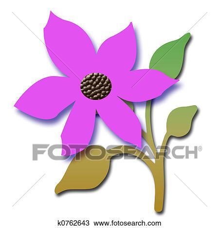 手绘图 - 粉红花, 3d