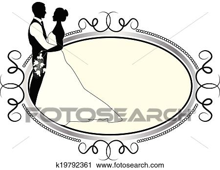 clipart of bride and groom with silver frame k19792361 search clip rh fotosearch com clipart bride dress clip art brides