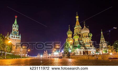 图吧- 圣徒, basil, 大教堂, 同时,, 克里姆林宫, 在中, 莫斯科.图片