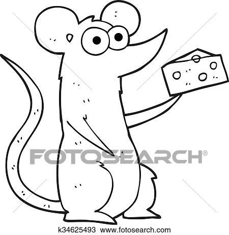 Käse clipart schwarz weiß  Clipart - schwarz weiß, karikatur, maus, mit, käse k34625493 ...