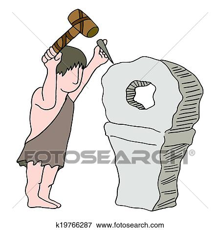 Cartoon Caveman Chisel by Ron Leishman | Toon Vectors EPS #10197