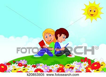 剪贴画 - 卡通漫画, 男孩和女孩, 读书, 我