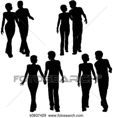 Rick und das schwarze mädchen gehen zusammen spazieren