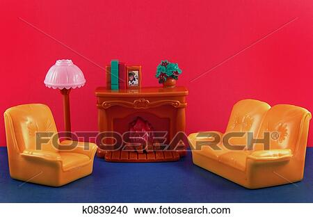 Stock Photography of toy fireplace, sofa, lamp k0839240 - Search ...