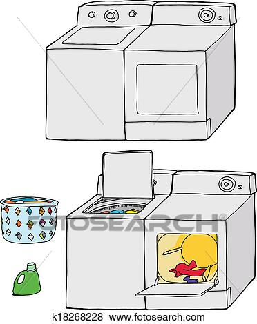 Washer And Dryer Clipart clip art of washing machine and dryer k18268228 - search clipart