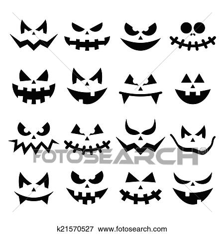 Clip Art of Scary Halloween pumpkin faces icons k21570527 - Search ...