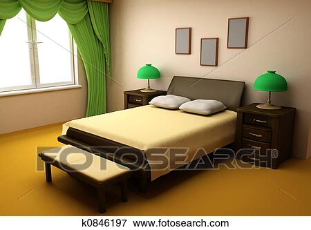 Stock illustration of cosy bedroom interior 3d k0846197 for 3d bedroom drawing