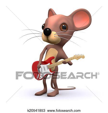手绘图 - 3d, 老鼠, 吉他手