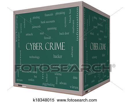 banque d 39 image cyber crime mot nuage concept sur a 3d cube tableau noir k18348015. Black Bedroom Furniture Sets. Home Design Ideas
