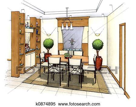 banque d 39 illustrations salle manger k0874895 recherche. Black Bedroom Furniture Sets. Home Design Ideas
