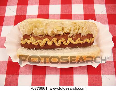 All Beef Hot Dog With Kraut On Checkered Tablecloth
