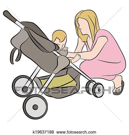Clipart maman b b dans poussette k19637188 - Poussette dessin ...