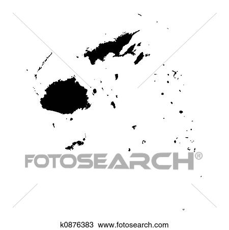 Drawing of map of Fiji k0876383 Search Clipart Illustration Fine