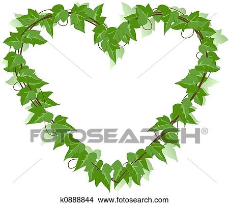 Drawings of Ivy Leaf heart k0888844 - Search Clip Art ...