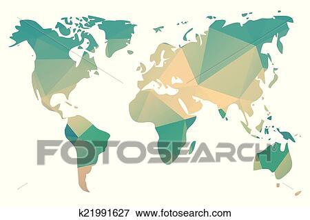 世界地图, 在中, 几何学
