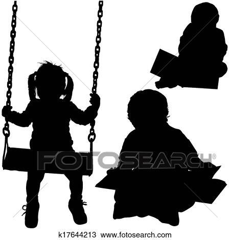 Clipart childrens silhouettes k17644213 zoek clipart - Schattenbilder kinder ...