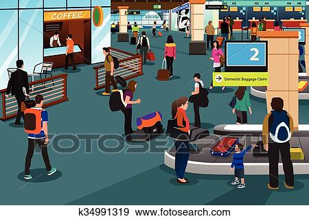 Clip Art of People Inside Airport Scene k34991319 - Search ...