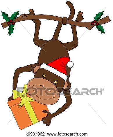 剪贴画 - 圣诞节, 猴子