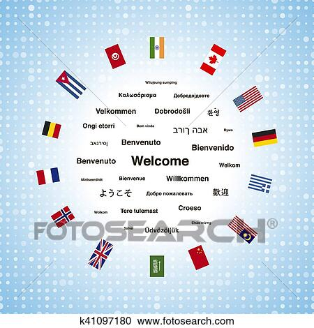 Stock Illustrations Of Black Welcome Phrases In Different - How many types of languages are there in the world