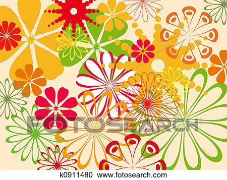 Stock illustraties abstracte bloempatroon k0911480 zoek clipart illustratie posters - Ongewoon behang ...