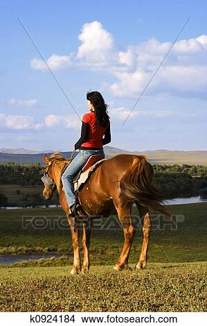 Stock Photo Of Asian Girl Horse Riding K0924184 Search