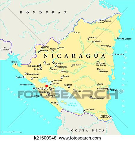 Clip Art of Nicaragua Political Map k21500948 Search Clipart