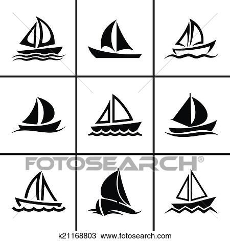 clipart of sail boat icons set k21168803 search clip art illustration murals drawings and. Black Bedroom Furniture Sets. Home Design Ideas