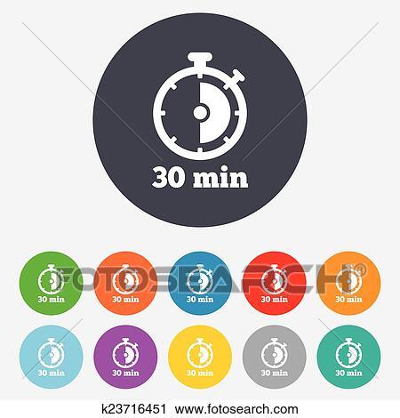 clipart minuteur signe icon 30 minutes chronom tre symbole k23716451 recherchez des. Black Bedroom Furniture Sets. Home Design Ideas