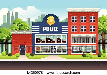clipart of police station k43509781 search clip art illustration rh fotosearch com police department clip art police station clipart vector