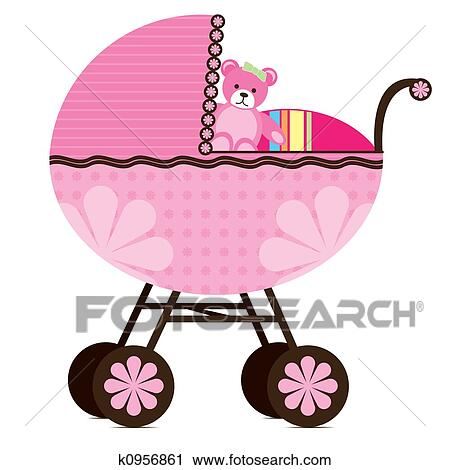 clipart of pram for baby girl k0956861 search clip art rh fotosearch com Baby Clip Art baby buggy clipart free