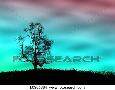 手绘图 - 树风景